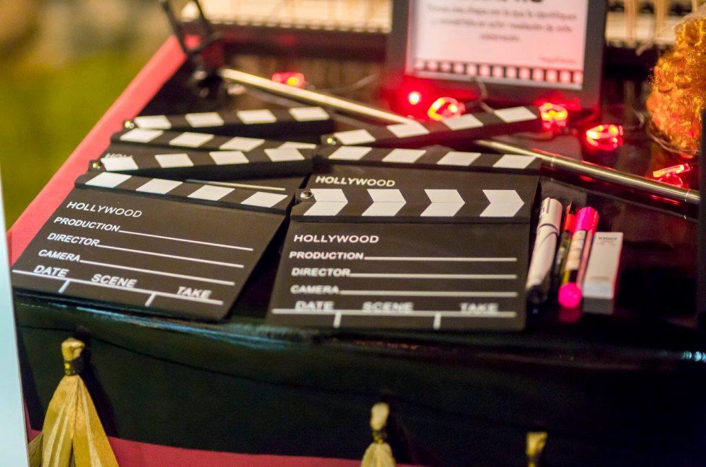 photocall claquetas boda de cine mensajes