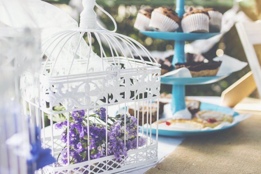 jaula decoración vintage cupcakes
