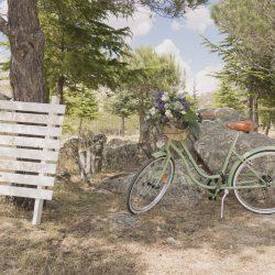 rincón bienvenida banner palé bicicleta vintage