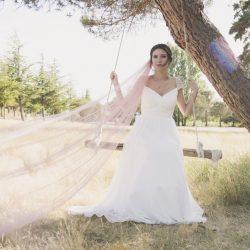 novia rústica columpio velo original color
