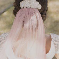 tocado boda original velo rosa