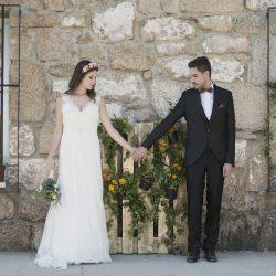 boda rústica decoración palé flores