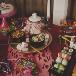 mesa dulce candy bar colorista inspiración asiática sushi